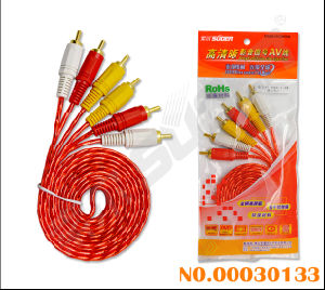 Transparent Red 3 RCA to 3 RCA Video Signal Line AV Cable (AV-306R-1.8m-red) pictures & photos