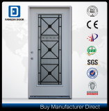 Tempered Glass Inserted Decorative Iron Full Lite Prefinished White Steel Prehung Front Door pictures & photos