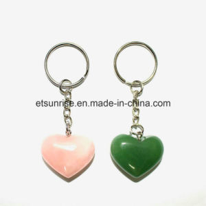 Fashion Gemstone Crstal Carnelian Quartz Heart Keyring Pendant pictures & photos