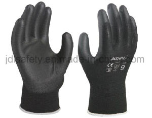 Black Safety Work Glove with PU Palm Coated (PN8003) pictures & photos