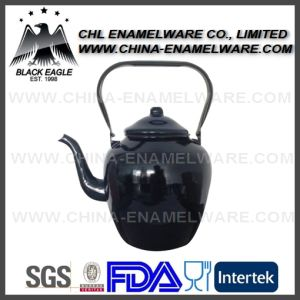 Top Quality Cast Iron Enamel Tea Kettle with Sliver Rim pictures & photos
