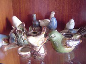 Ceramic Birds with Container