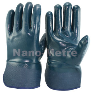 Nmsafety Blue Nitrile Impregnated Heavy Duty Working Glove pictures & photos
