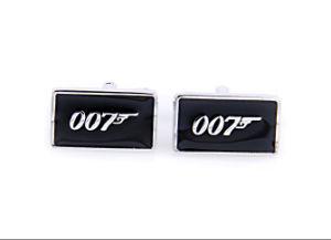 Black Enamel 007 Brass Cufflinks Novelty, Cufflinks for Men (CNB009)