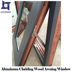Solid Wooden Window with Aluminum Cladding Awning Design, 3D Wood Grain Aluminum Top Hung Windows pictures & photos