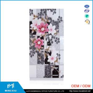 Luoyang Mingxiu Manufactures Printing Flower 2 Door Steel Almirah / Metal Storage Almirah pictures & photos