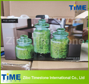 Housewares 3PCS Green Glass Jar Set with Airtight Glass Lid pictures & photos