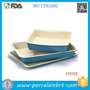 3PCS Wholesale Blue Ceramic Cake Pan Cookware Set pictures & photos