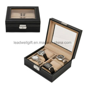 6 Watch Leather Box Glass Top Display Lockable Jewelry Box pictures & photos