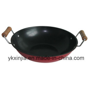 Kitchenware 23cm Carbon Steel Non-Stick Coating Wok with Two Handles pictures & photos