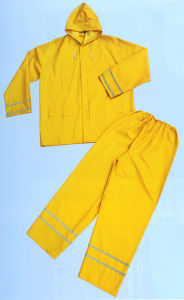 PVC Rain Suit with Reflective Tape pictures & photos