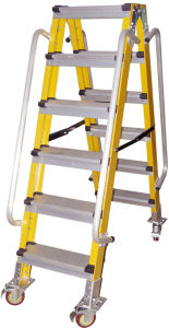 (375LBS) 35kv Yellow Fiberglass Portable and Step Ladder pictures & photos