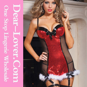 2016 Fashion Lady Sequin Sexy Christmas Lingerie pictures & photos
