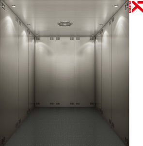 Large Goods Elevator with Hair Line Steel & LED Lights pictures & photos