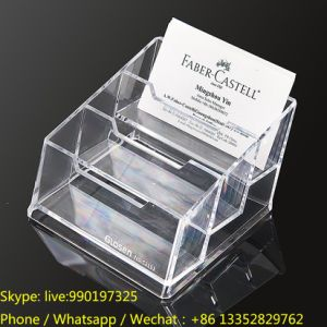 3 Tiers Transparent Plastic Business Card Display Holder pictures & photos