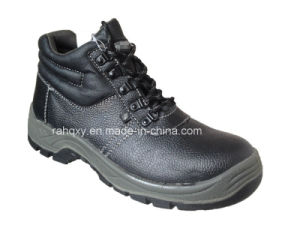 Professional Black Split Embossed Leather Safety Shoes (HQ01006) pictures & photos
