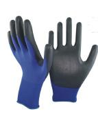 18 Gauge Navy Blue Nylon/Black PU Gloves