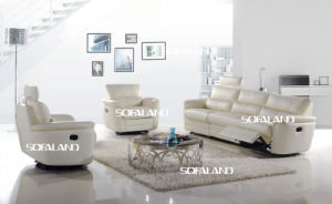 White Color High Back and Adjustable Genuine Leather Recliner Sofa pictures & photos