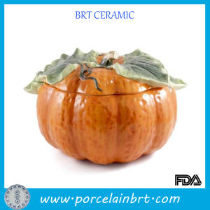 Halloween Gift Ceramic Pumpkin Bowl with Lid pictures & photos