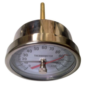 Two Pointer Ss Bimetal Thermometer with Brass Pocket (B-0089)