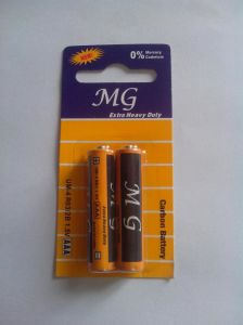 R03p AAA 1.5V Extra Heavy Duty Carbon Zinc Dry Cell Battery 2PCS in Card Pack (MG) pictures & photos
