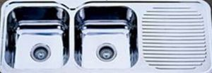 Stainless Steel Two Bowl Kitchen Sinks with Drainboard (KID12050) pictures & photos