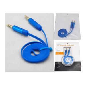 Aux Cable Car Audio Cable 3.5mm Stereo Flat Cable Blue Color pictures & photos