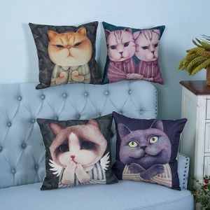 Digital Print Decorative Cushion/Pillow with Cat Pattern (MX-09) pictures & photos