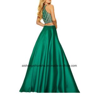 Women Two Piece Beading Bodice Chiffon Evening Dress Porm Dress pictures & photos