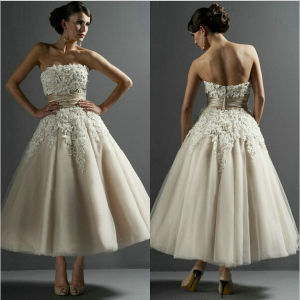 Lace Wedding Dress Champagne Tulle Vestidos Bridal Evening Dress Ld11529 pictures & photos