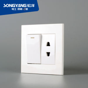 PC White Series 1gang&1socket Wall Socket
