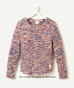 Kids Sweater Rainbow Yarn with Slub for Girls pictures & photos