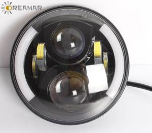 80W 7inch Hi/Lo Beam +DRL Angle Eyes LED Jeep Wrangler Headlight with DOT, E-MARK, ECE Approved pictures & photos