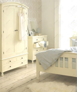 Pine Wood Bedroom Furniture Set Cream White Painted Furniture Pine
