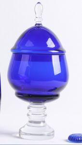 Blue Glass Candy Jar with Stem