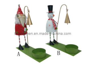 Metal Santa Claus Snowman Candle Holder (TC-23134)
