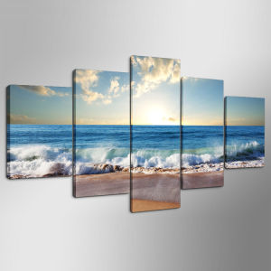 5 Panels Blue Sea Water Picture Modern Wall Decor Print on Canvas Oil Painting Canvas Painting Mc-163 pictures & photos