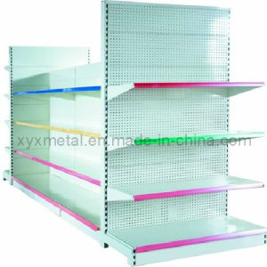Powder Coated Colorful Supermarket Punch Back Panel Shelf pictures & photos