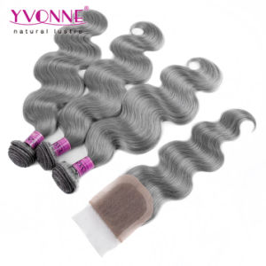 Brazilian Grey Human Hair Bundles with Closures pictures & photos