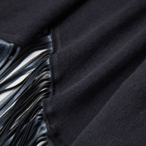 Lady Fashion Leather Tassel Viscose Polyester Knitted Black Shawl (YKY4528) pictures & photos