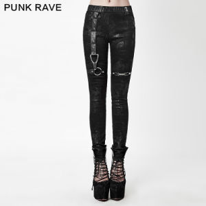 K-232 Winter Sexy Elastic Waist Women Skinny Pants with Leather Straps pictures & photos
