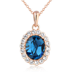 Top Sale Rose Gold Plated Crystal Necklace of Fashion Jewelry pictures & photos