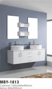White MDF Bathroom Vanity Cabinet with Glass Wash Basin pictures & photos