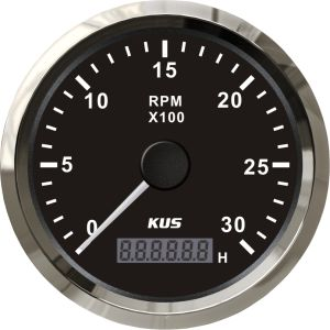 "Best Price 85mm/ 3-3/8"" Black Faceplate Stainless Steel Bezel Boat Car Tachometer 0-3000rpm for Gas Engine High Quality pictures & photos"