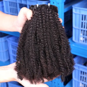 100% Virgin Human Hair Extension Natural Curl Coily Brazilian Remy Natural Hair pictures & photos