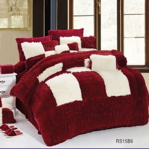 45mm Long Hair PV Plush Patchwork Quilt Bedding Set (RS15B01-1)