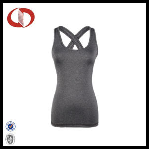 Grey Womens Tight Yoga and Fitness Vest Gym Stringer Singlet pictures & photos