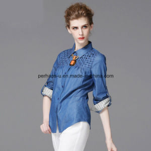 Fashion Denim Ladies Shirt Fashion Blouse pictures & photos