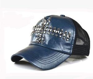 2017 Popular Fashion Design Metal Rivet Leathe Front Mesh Back Cap Trucker Hat pictures & photos