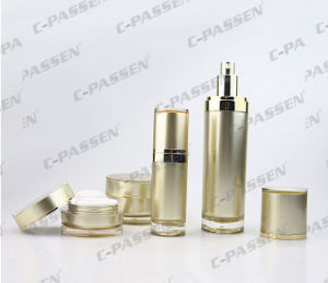 Luxury Gold Acrylic Cream Jar Container Bottle for Cosmetic Packaging (PPC-CPS-063) pictures & photos